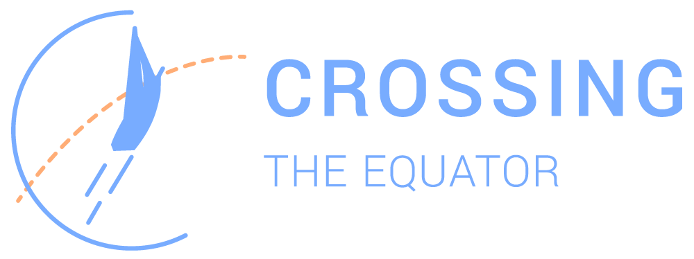 Crossing the Equator Logo in blue and orange over transparent background